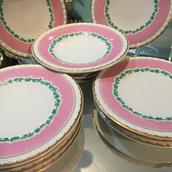 10 Pc 19th Century Antique English Dessert Set/9 Plates/One Cake Stand/Hand Painted With Pink Border/ Dinner Party/Wedding Gift/Dinner Party