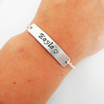Name Bracelet, Personalized bar bracelet, Bridesmaid Gift, Delicate, Engraved Jewelry, Name Jewelry, Nameplate Bracelet Coordinate, Dainty