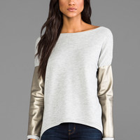 Generation Love Bobo French Terry Long Sleeve Sweater in Beige