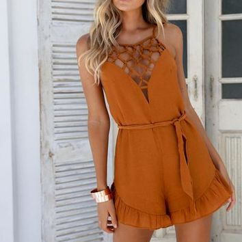 Charming Romance Playsuit (Tan)