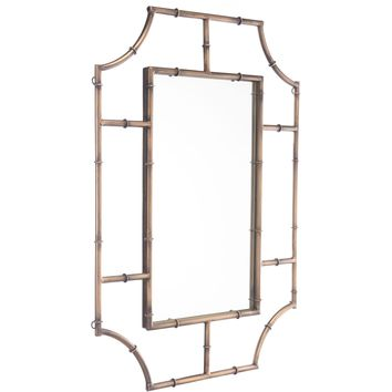 Antique Gold Round Corners Wall Mirror
