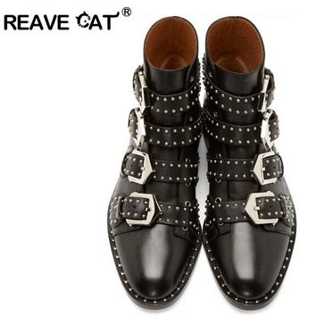 REAVE CAT Brand Genuine leather Motorcycle boots Biker Shoes Women Pointed Snow Boots