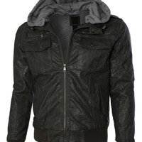LE3NO Mens Faux Leather Zip Up Moto Jacket with Fleece Hoodie (CLEARANCE)