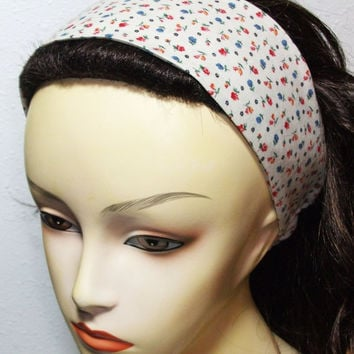 Red and Blue Flowered Calico Headband Reversible Wide Wrap Around Fabric Headband