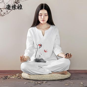 Printing Linen Yoga Shirt Pants Large Size Loose Yoga Set Zen Meditation Clothing Woman Set Large Size Yoga Suit Tracksuit