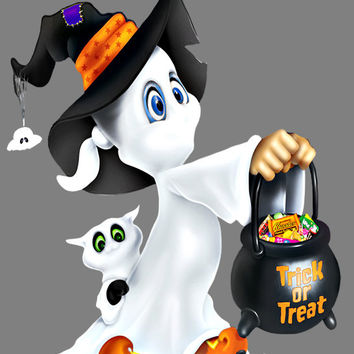 Cute Ghost Image, Halloween Ghost Image, Little Ghost Image, Large Halloween Ghost Poster, Wall Décor, Kids Room, Nursery Décor, Home Décor
