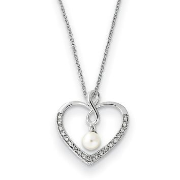 Sterling Silver, CZ & FW Cultured Pearl My Friend Heart Necklace, 18in