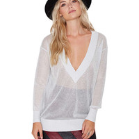 White Deep V-Neck Sheer Knit Sweatshirt