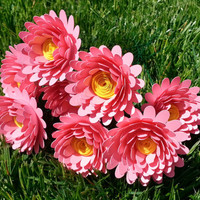 Paper Flower Bouquet - 6 Pink Daisies - Handmade Paper Flowers for Brides, Weddings, Showers, Birthdays