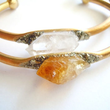 Raw Gemstone  Bracelet - Raw Citrine Point - Brass Cuff - Mineral Cluster  - Boho Chic