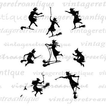 Digital Printable Witch Flying with Broom Silhouettes Image Graphic Download Vintage Clip Art Jpg Png Eps  HQ 300dpi No.3244