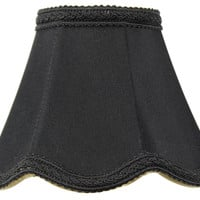 0-000298>2.5x5x4 Crisp Linen Scallop Stretch Clip-on Candelabra Lamp Shade Black Fabric