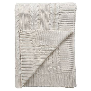 "Cable Knit GOTS Certified Organic Cotton Oversized Throw Blanket, 50""X70"", Ivory"