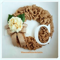 Burlap Hydrangea Wreath Monogram Wreath Front Door Wreath Summer Wreath Mother's Day Gift Spring Wreath Wedding Wreath Rustic Wreath