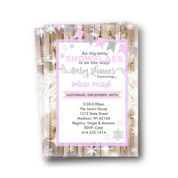 Winter Wonderland Baby Shower Invitation rustic onederland snowflake printed printable silver  pink purple printed invitation holiday invite