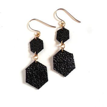 Leather earrings in metallic black diamond shapes, handmade in the UK
