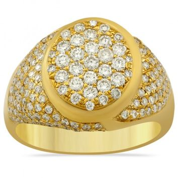 Mens Diamond Pinky Ring 14k Yellow Gold 2 Ctw