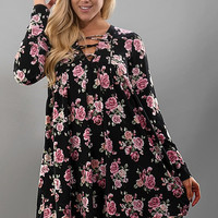 Dancing With Flowers Lace-Up Front Dress