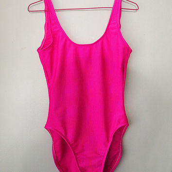 NEON PINK // Vintage 90s Retro One Piece Bathing Suit Swimsuit Bodysuit Womens M