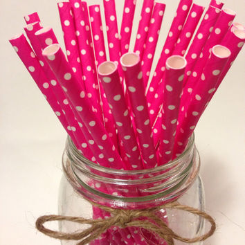 25 Pink Fuschia Polka Dot paper straws // baby bridal shower decorations/candy dessert buffet table/ wedding / First birthday/new year party