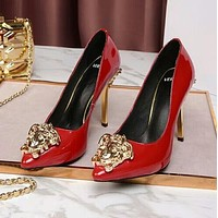"""Hot Sale """"Versace"""" Summer New Popular Women Pure Color Smooth Leather Stiletto Heel Pointed High Heels Red I13174-41"""