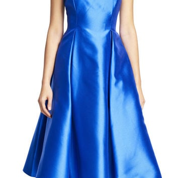 Boat Neck Sleeveless Tea Length Dress - Adrianna Papell