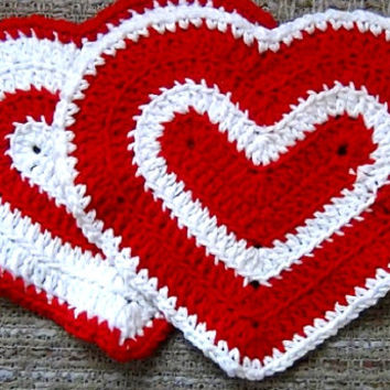Valentine's Day Heart Washcloth - Set of 2 - Red and White
