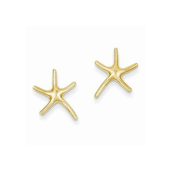 14k Yellow or White Gold Starfish Post Earrings