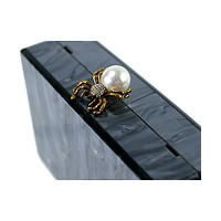 Black Pearl Spider Acrylic Box Clutch