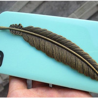 Personalized BRASS Feather Light Green case, Hard case, For Iphone 4, Iphone 4s cover