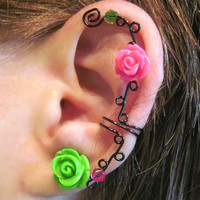 "Ear CuffNon Pierced ""Briar Rose"" Cartilage Conch Cuff Black Wire Prom Quinceanera"