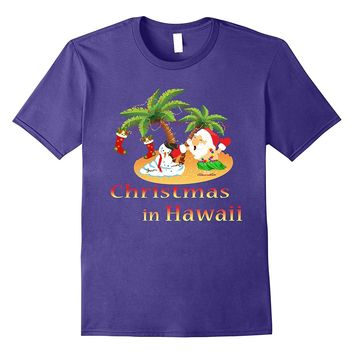 Santa Claus Hawaii T shirt Melting Snowman Christmas Tee