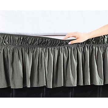 EasyWrap Silver Elastic Ruffled Bed Skirt with 16 inch  Drop - Twin/Full
