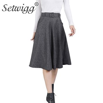 SETWIGG Winter Autumn Wool Blend Skater Midi Skirts with Pockets Elastic Waist Sashes Flared Cashmere Knee Length Skirts