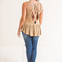 Ivy Strappy Back Tank Top (Mocha)