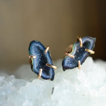 Miniature Blue and Yellow Geode Studs. Dark Blue Tabasco Geodes on 14k Gold Fill Prong Earrings. Druzy Stone Tiny Geode Gemstone Earrings