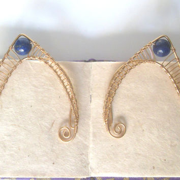 Gold Plated Handmade Wire Wrapped Lapis Lazuli Elf Ear Cuffs, Wire Weave, Spirals, Elven Ears, LARP, Fantasy Wedding Jewelry