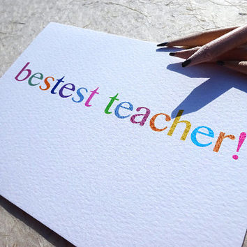 Funny teacher card, best teacher greeting card, ideal for your kids to say thank you at the end of term, the irony of the spelling