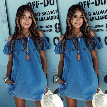 Stylish Strapless Denim Dress One Piece [7981109063]