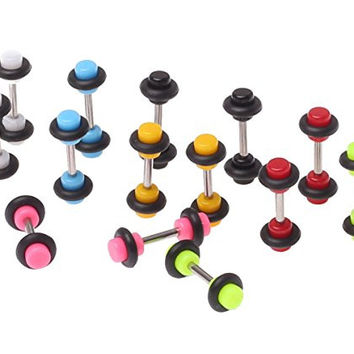 Lot of 14 Pieces Multi-Color Acrylic Fake Plugs Kit 8G Gauges Look (7 Pairs)