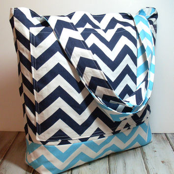 Large Beach Bag - Navy and Aqua - Chevron Summer Bag - Chevron Tote Bag - Beach Bag - Beach Tote - Large Tote Bag - Bridesmaid Totes - Bag