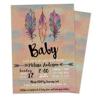 Tribal Baby Shower Invitation - Aztec Baby Shower Invite - Watercolor Feathers Kraft - Neutral Boy or Girl - Painted Feather Turquoise Pink