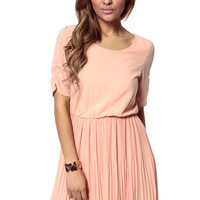 Ruched Pleated Skater Dress