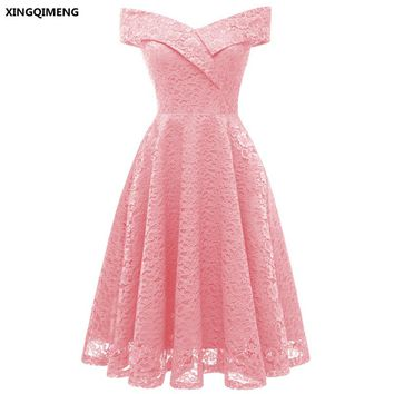 In Stock Pink Full Lace Cocktail Dresses Elegant Short Homecoming Dress Formal Dress Little Black Dress Women Short Prom Gown