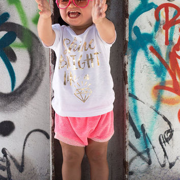 Shine Bright Like a Diamond Tee, Baby Shower Gift, Baby Girl Clothes, Baby Clothes Girl, Cute Baby Gifts, White and Gold Top