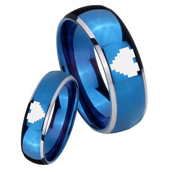 His Her Glossy Blue Dome Zelda Heart Two Tone Tungsten Wedding Rings Set