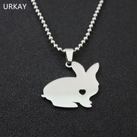 Cute  Rabbit Necklace Love Heart Stainless Steel Chain Necklaces Choker Bunny Jewelry For WomenKawaii Pokemon go  AT_89_9