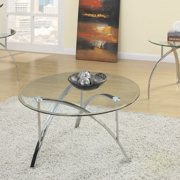 Poundex 3pcs Glass Coffee & End Table Set