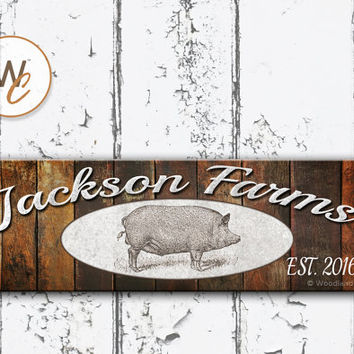 "Family FARM Sign, 5.5""x17"" Wood Sign, Rustic FARM Sign, Personalize With Family Name and Established Date, Housewarming Gift, Made To Order"