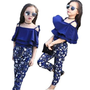 Off Shoulder Frill Top + Floral Pants Cute Outfits For Girls